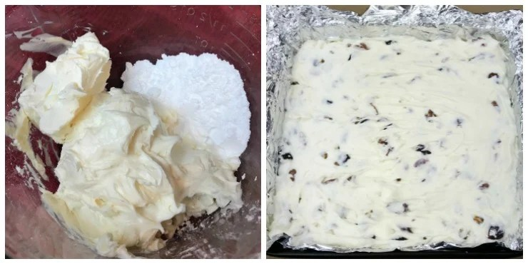 Only 6 ingredients in this easy recipe for White Fudge made with cake frosting.