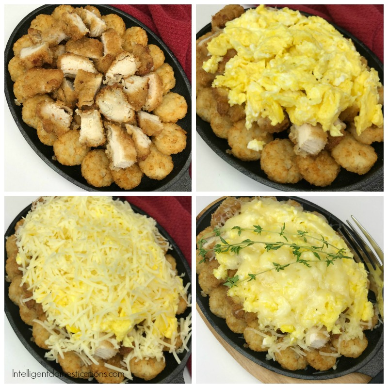 four pictures of how to layer chicken and cheese eggs hash brown breakfast