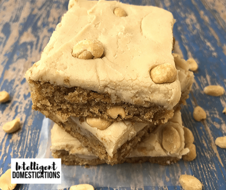 Homemade Peanut Butter Bars recipe with Peanuts in the mix