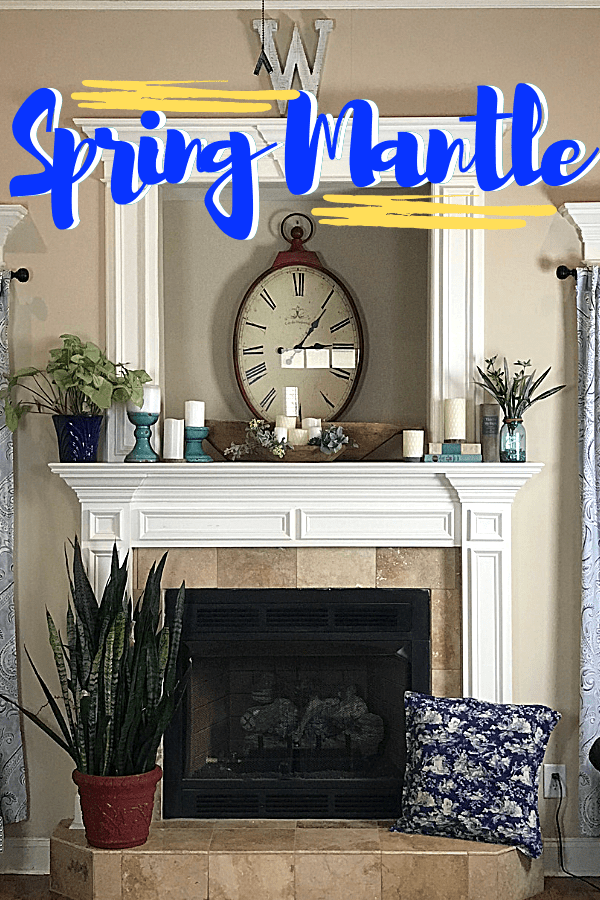Tips for Decorating a Spring Mantle with plants, candles and greenery. I used what I had on hand to create a simple Spring Mantlescape