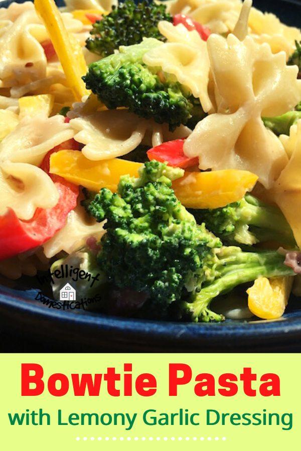 Broccoli Bowtie Pasta dish served in a dark blue dish