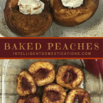 Baked peaches in a clear glass dish