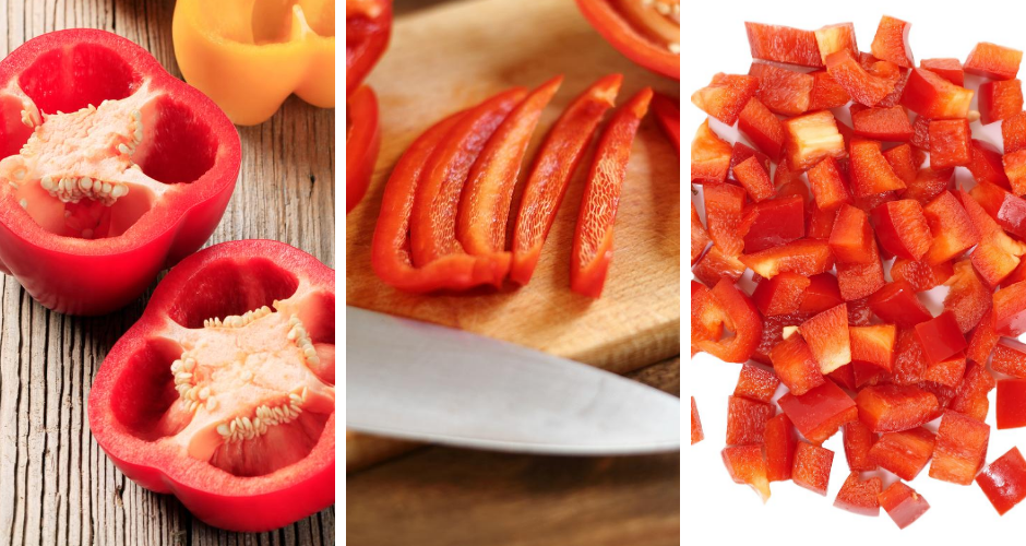 Three stages of cutting and chopping a bell pepper