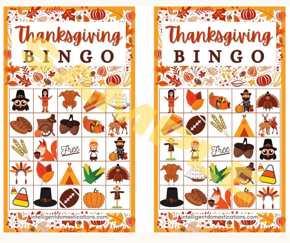 Printable Thanksgiving BINGO cards