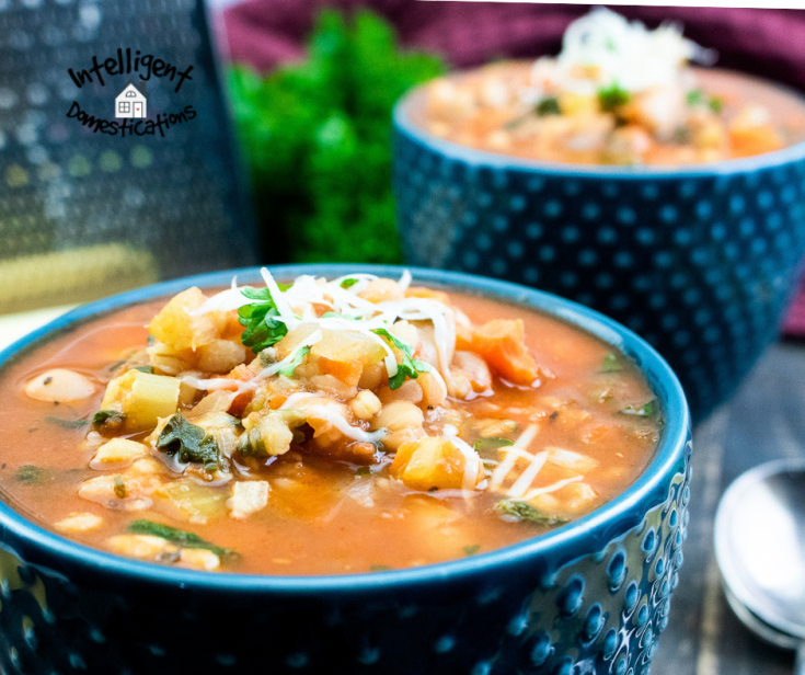 Two bowls of Minestrone soup with grated Parmesan cheese on top