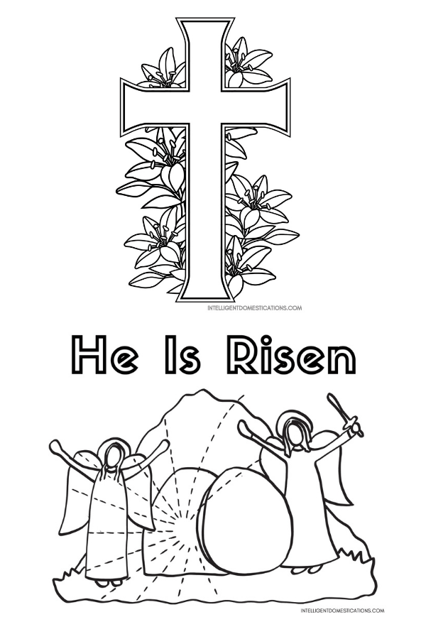 2 Christian Easter coloring pages include a Cross with lilies and a stone rolled away with angels