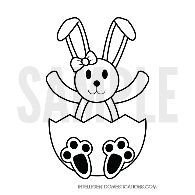 Easter Bunny sitting in an egg shell coloring page