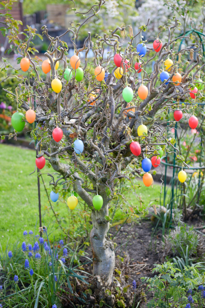 an outdoor Easter Egg Tree