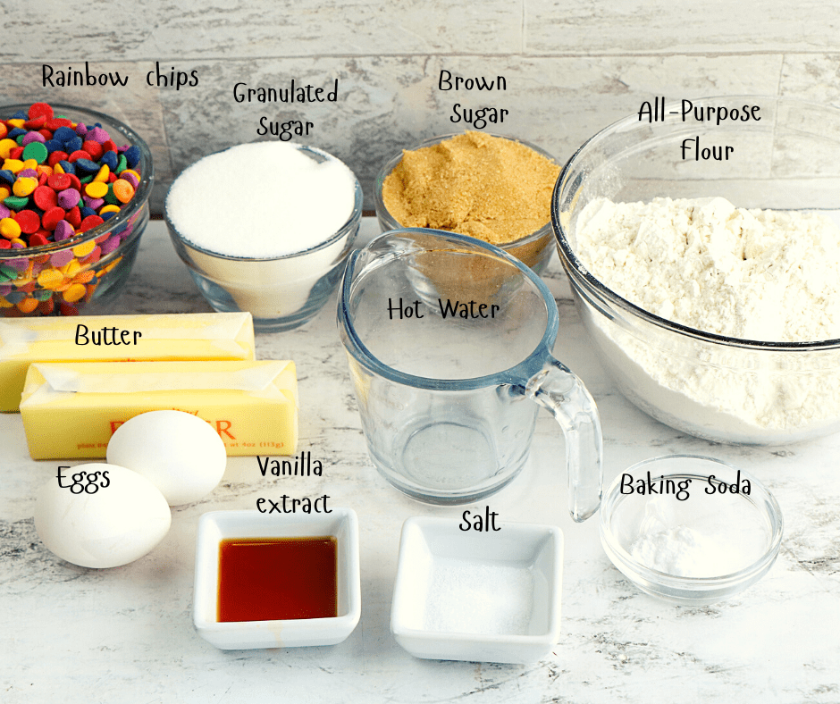 cookie ingredients in bowls on a white surface