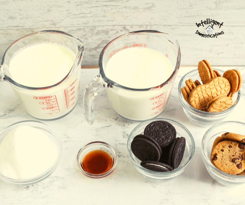 Ingredients for Cookie Crumble Ice cream