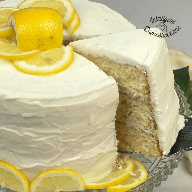 Lemon Cream Cheese Buttercream Frosting on lemon cake