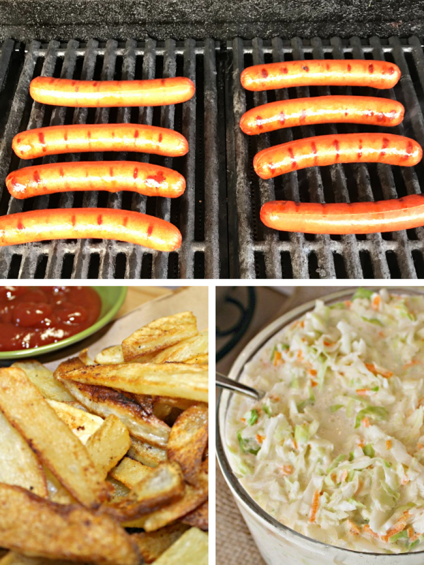 Hot dogs on the grill pictured with French fries and cole slaw