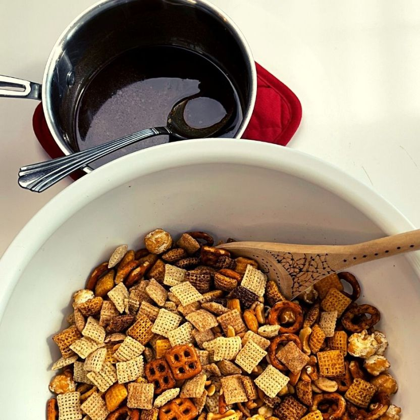 Butter and spice mixture ready to pour over savory ingredients