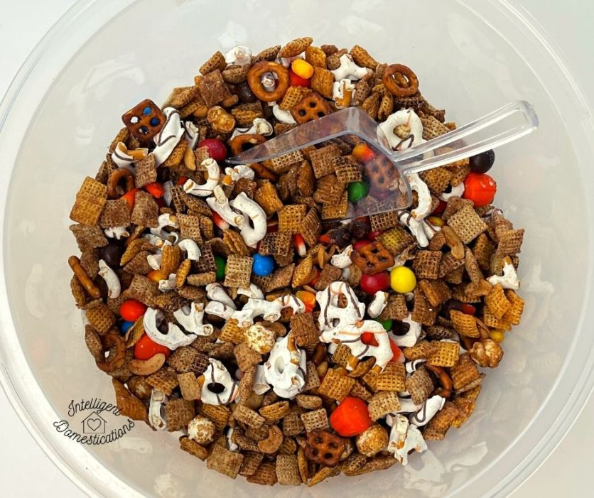 Pumpkin spice Chex mix ready to serve in a large bowl