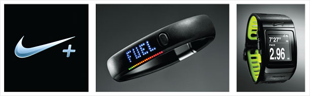 Nike's new digital hook the Nike+ logo the new Nike FuelBand and the Nike+ SportWatch GPS