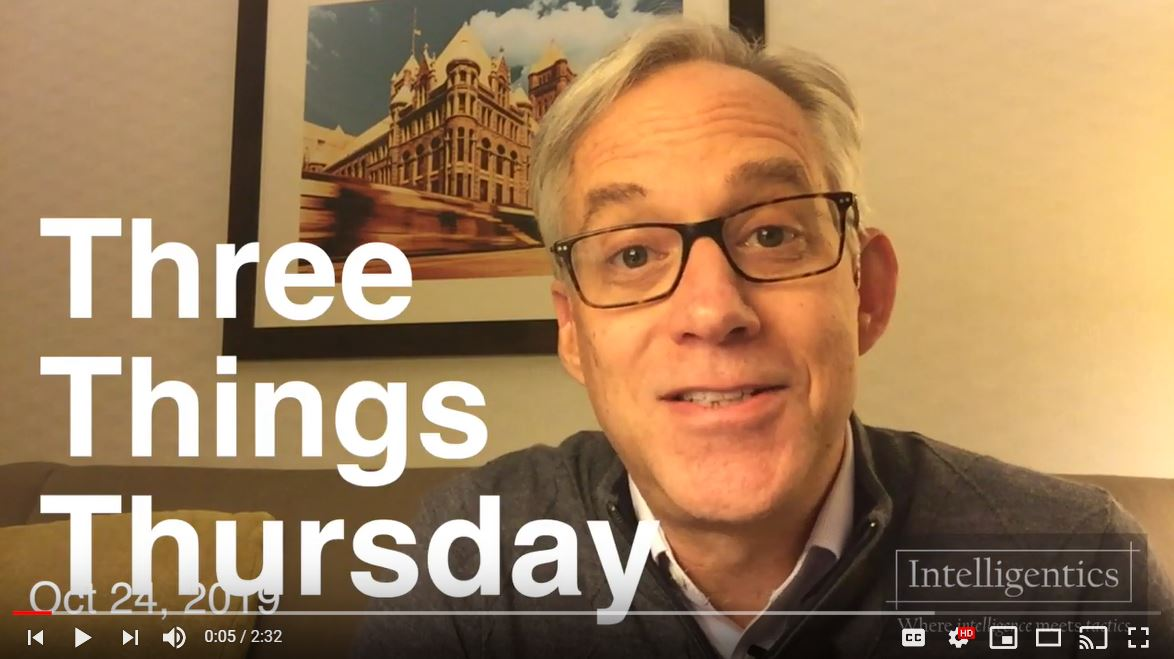 Three Things Thursday For Oct 24, 2019