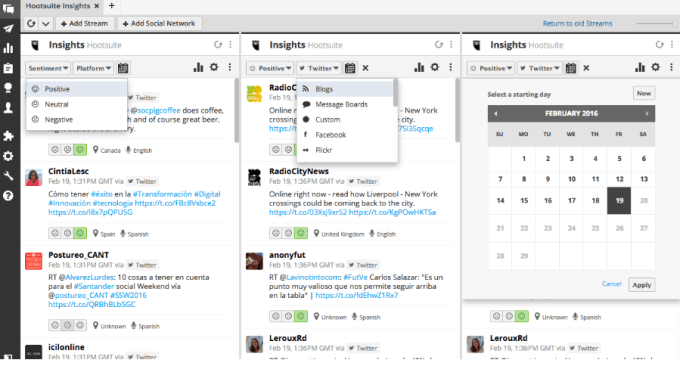 Hootsuite print screen - great for web competitive intelligence