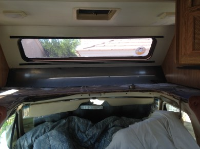 1989 Mallard Sprinter RV Remodel Over the Cab Bed Before