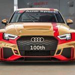 アウディスポーツが個人向けレース車両「RS3LMS」100台目をラインオフ。ゴールドラッピングでお祝い