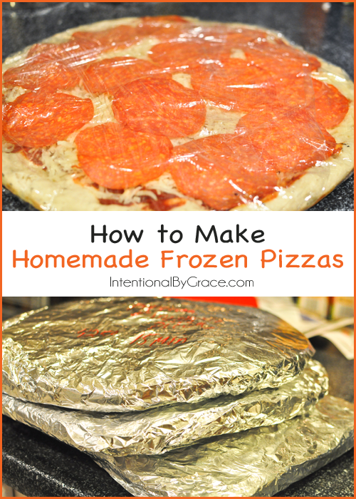 Homemade Frozen Pizzas Recipe and Tutorial via Intentional By Grace - how to make homemade frozen pizza for easy meals!