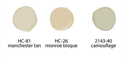 Home Staging Paint colors, Benjamin Moore Manchester Tan HC-81, Monroe Bisque HC-26, Camouflage 2143-40