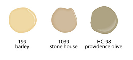 Home Staging Tips & Ideas, Benjamin Moore Barley 199, Stone House 199, Providence Olive HC-1039