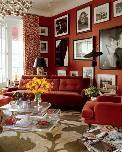 Manhattan living room of Estée Lauder executive John Demsey. Decorator Bibi Monnahan Read more: Red Rooms Decorating Photos - Red Room Decor and Ideas Images - ELLE DECOR