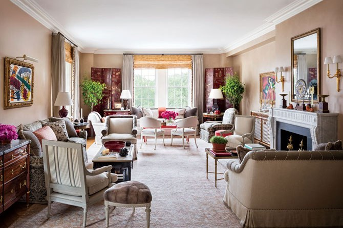 Alexa Hampton.  Architectural Digest,  Manhattan Renovation, Living Room.  Photography by Scott Frances.