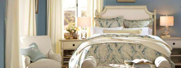 Sherwin-Williams & Pottery Barn Fall/lWinter 2013 Collection.  Wall color shown is SW 7604 Smoky Blue