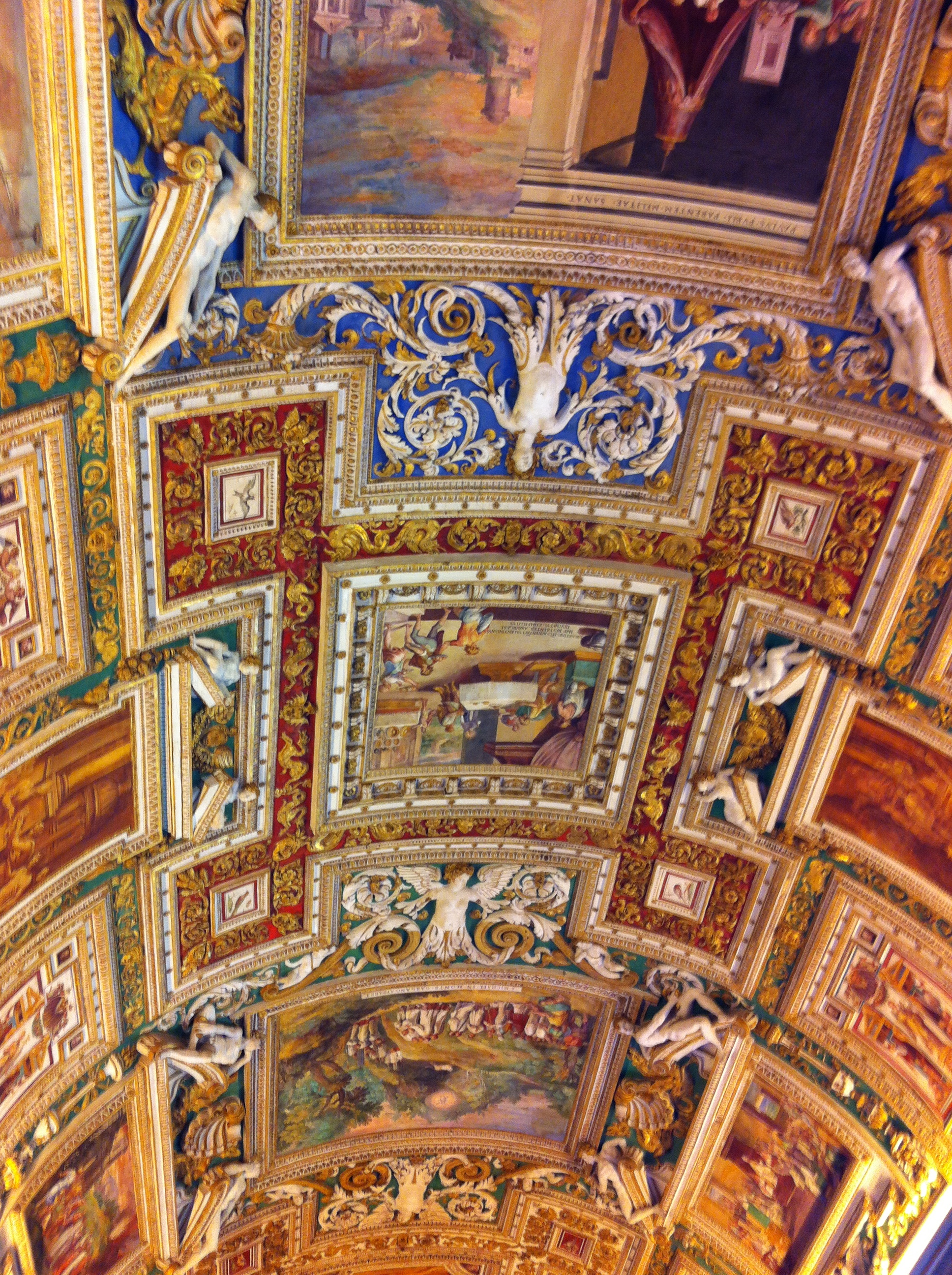 Italy vacation.Vatican Museum ceiling. intentionaldesigns.com