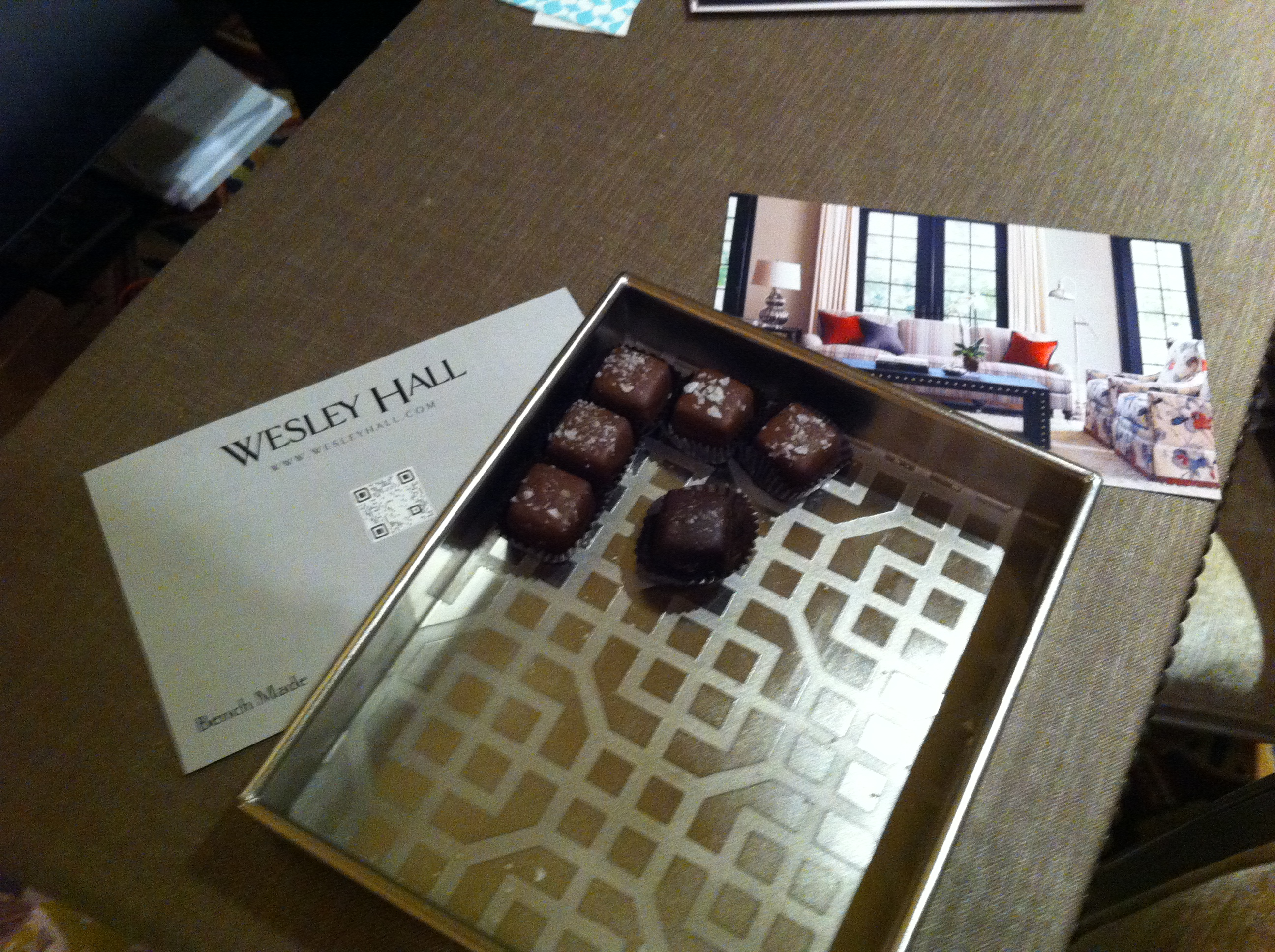 From my friends at Wesley Hall. The most delicious chocolate covered caramels from chocolatefetish.com., from Asheville North Carolina.