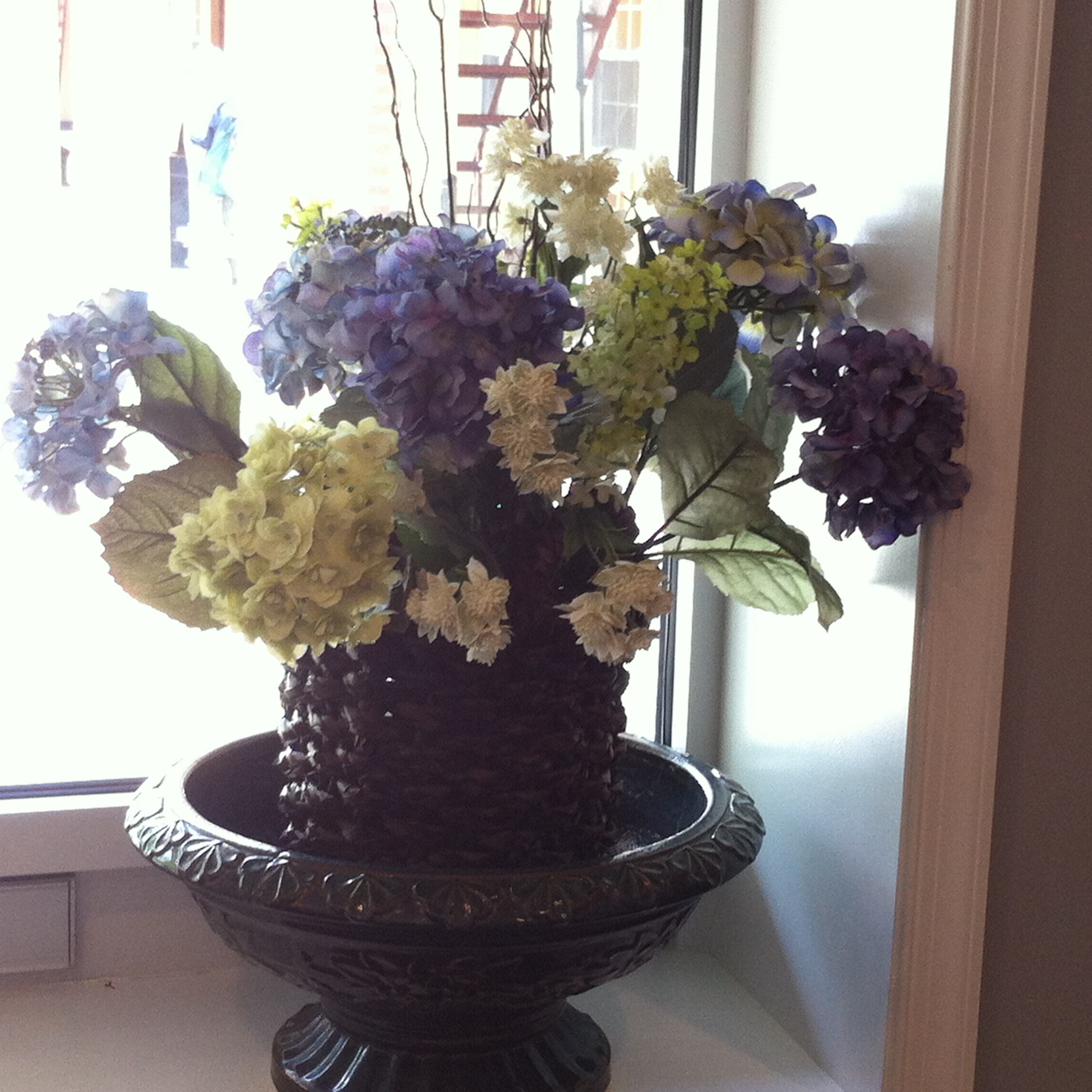 before and after, faux floral arrangement.