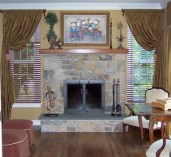 Formal Family Room , Intentional Designs Custom Window Treatments, Window Valance and Drapery Panels