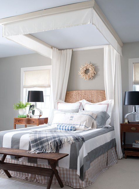 Beachy Home Decorating Ideas, Benjamin Moore Bedroom, Benjamin Moore CW-50 Tyler Gray Walls with CW-650 Palace Pearl Ceiling.