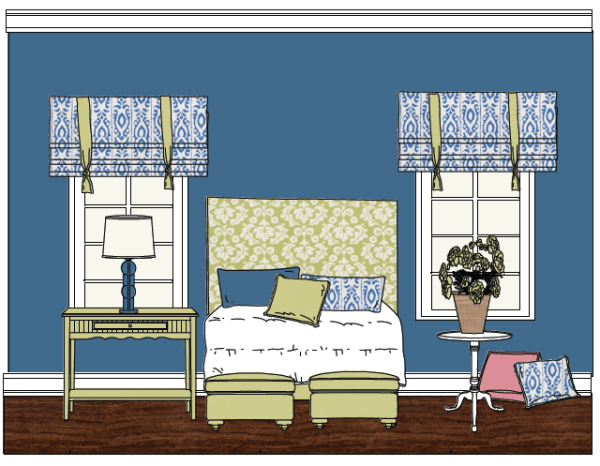 summer-house, Intentional Designs Elevation Line Drawing. Bedroom.