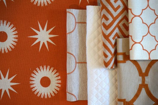 Kids Bedroom, May Flowers inspire paint colors, Orange Fabrics from Vern Yip for Trend Fabrics