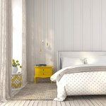 Modern bedroom, white and gray color with yellow accents