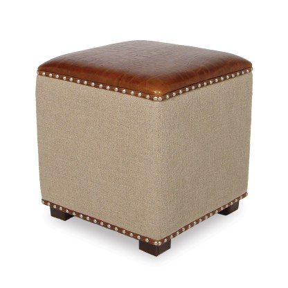 Gold, Leather Top Ottoman