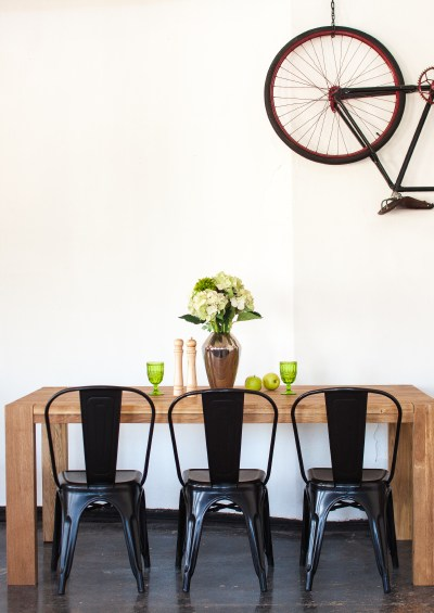 decorating style, black and white, black French Metal dining chairs