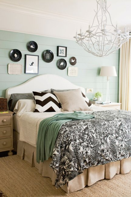 Bedding Trends, Bedding Trends 2016, 7 ways to create your own focal point, master bedroom, chandelier in bedroom, black bedding, shiplap wall, painted shiplap, soothing bedroom colors