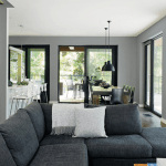 design plan, New 2016 Interior Color Schemes From PPG Knights Watch A predominately gray palette from Black Magic, Knights Armor and Shining Armor paired with a neutral Sauteed Mushroom and Delicate White.