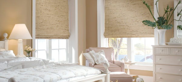 woven wood shades, white bedroom, Hunter Douglas Provenance Woven Wood Shades