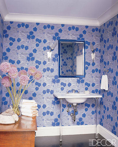 wall  paper in bathroom, powder room wall paper