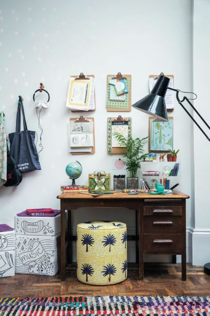 kids study space with clip boards