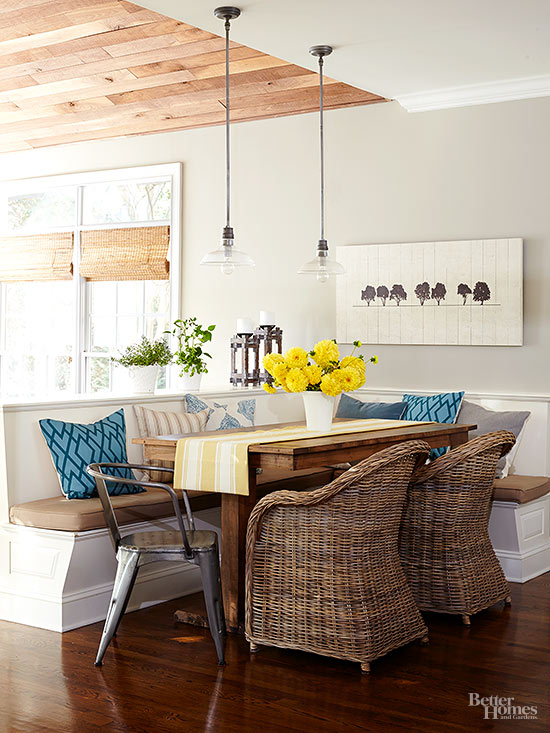 warm brown, Kitchen Banquette