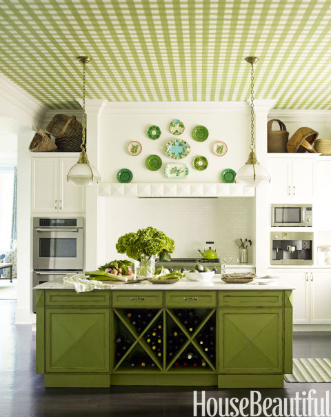 painted kitchen cabinetry, gingham
