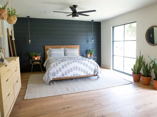 shiplap, colorful painted accent walls