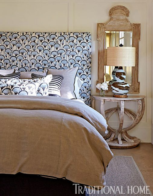 blue and tan guest bedroom, fabric mixologist