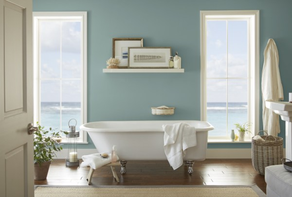 home decorating blog Spring 2018, 2018 paint colors, Spa-like bathroom, Behr Paint 2018 Color of the Year, In The Moment, Bathroom