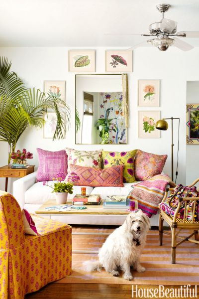 boho decorating, living room